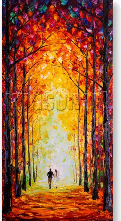 autumn path landscape oil painting