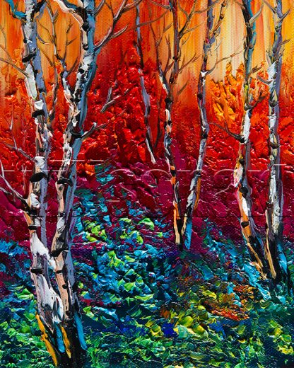 birch forest landscape tree textured palette knife canvas painting