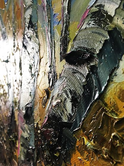 birch forest seasons landscape tree textured palette knife canvas painting