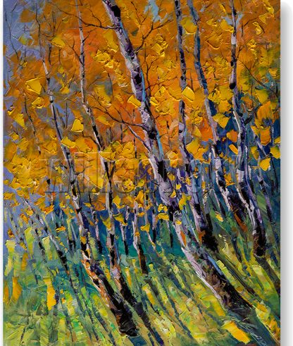 birch forest tree art canvas oil painting 16x20inches