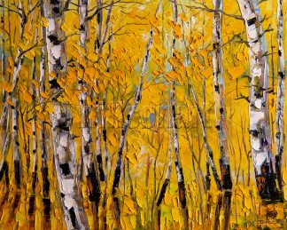 birch forest tree fall colors original landscape painting 16x20inches