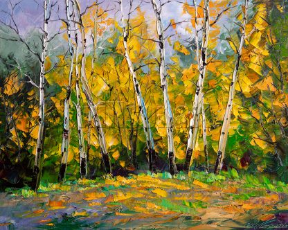 birch forest tree original landscape canvas painting 16x20inches