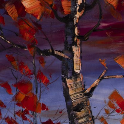 birch red leaves landscape textured large oil painting
