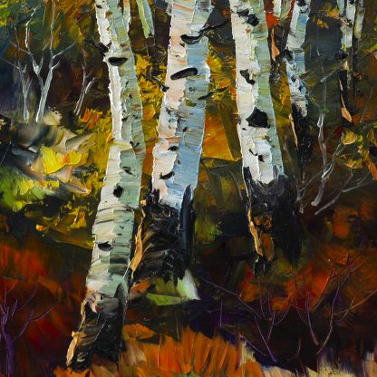 birch tree forest oil painting wall decor