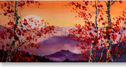 birch tree landscape textured large oil painting
