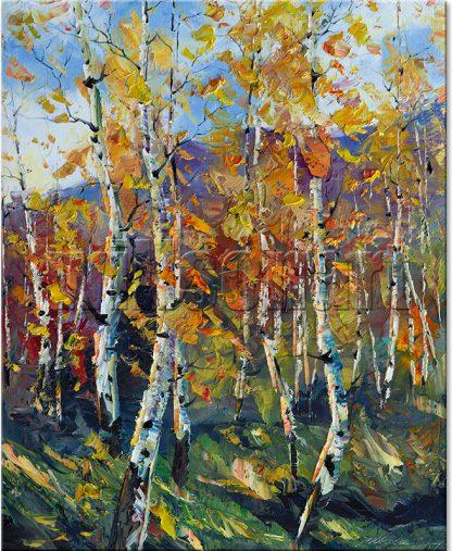 birch tree oil painting wall decor
