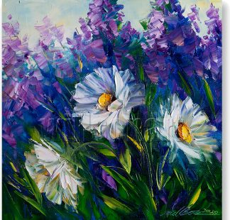 daisy field textured palette knife painting wall decor