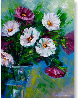 daisy textured palette knife painting wall decor