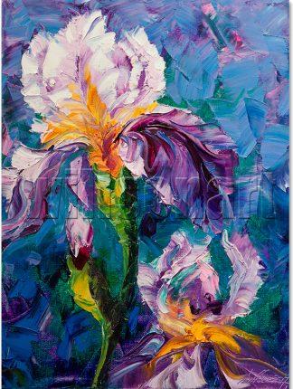 flower oil painting iris canvas art