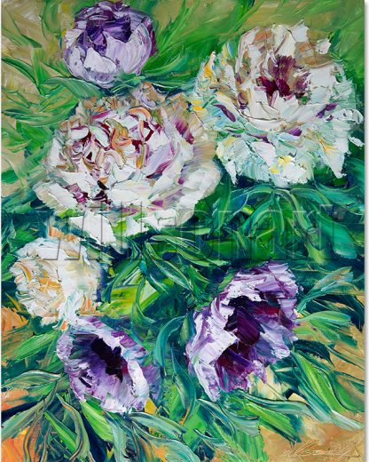 flower oil painting peony canvas art