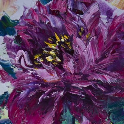 flower oil painting peony textured wall art
