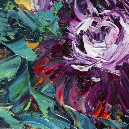 flower oil painting peony textured canvas art