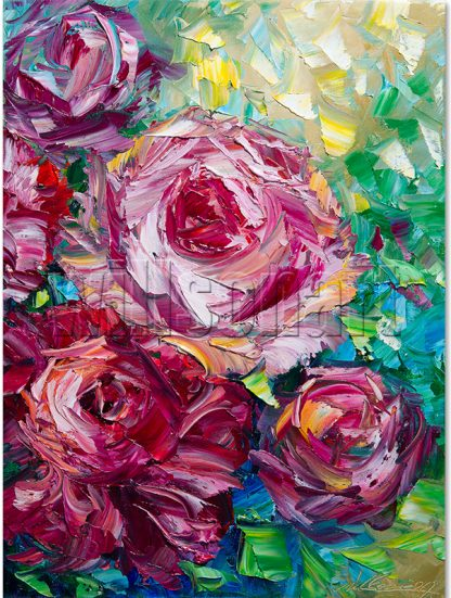 flower oil painting peony textured canvas wall art
