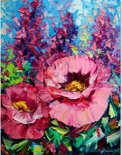 flower oil painting poppy textured canvas art
