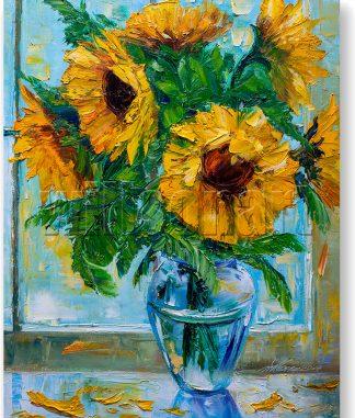 flower oil painting sunflower canvas art