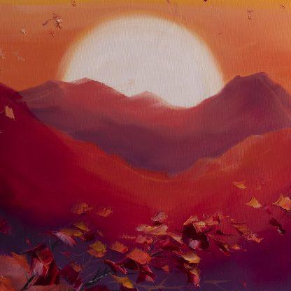 birch landscape textured large oil painting
