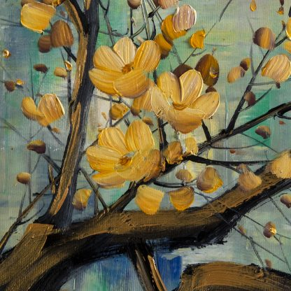 golden zen asian blossom canvas large oil painting