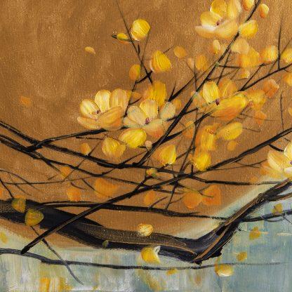golden zen asian blossom flower large oil painting