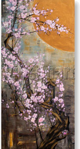 golden zen asian blossom huge oil painting
