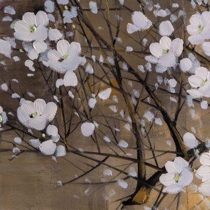 golden zen asian blossom large canvas painting