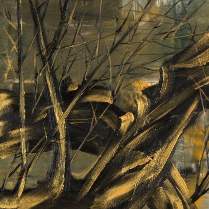 golden zen asian blossom large oil painting