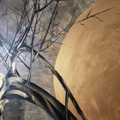 golden zen asian blossom painting huge