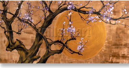 golden zen asian plum blossom flower large oil painting