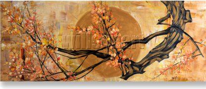 golden zen asian plum blossom large canvas painting