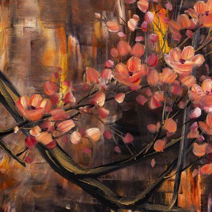 golden zen asian plum blossom large oil painting