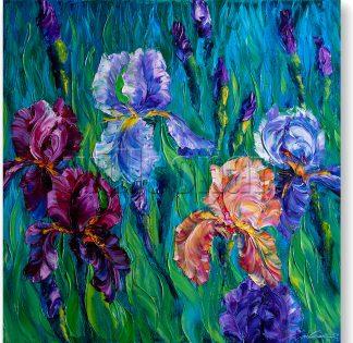 iris blue textured palette knife oil painting