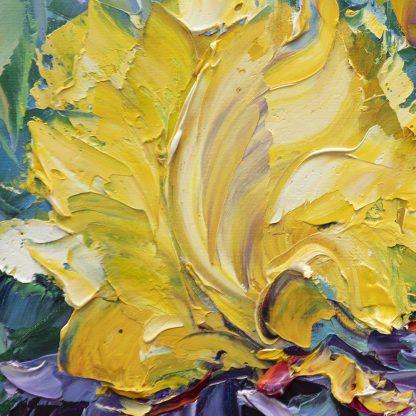 iris flower textured palette knife canvas oil painting