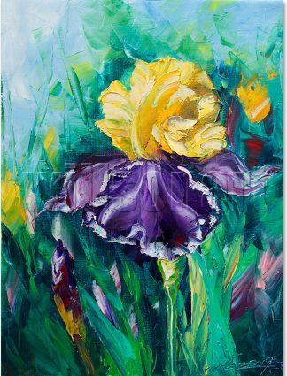iris flower textured palette knife oil painting