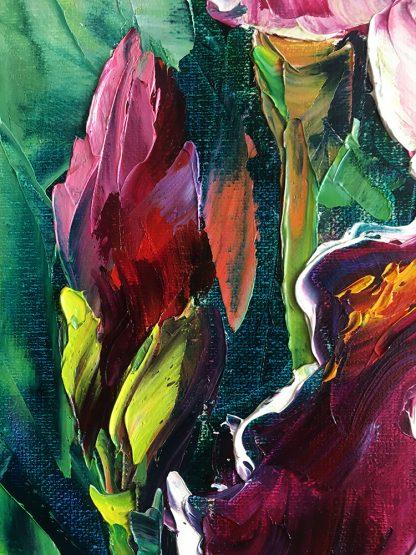 iris flower textured palette knife painting home decor