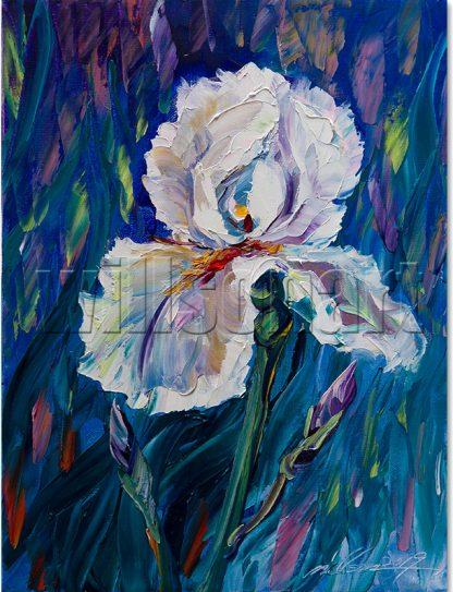 iris flower textured palette knife painting wall art