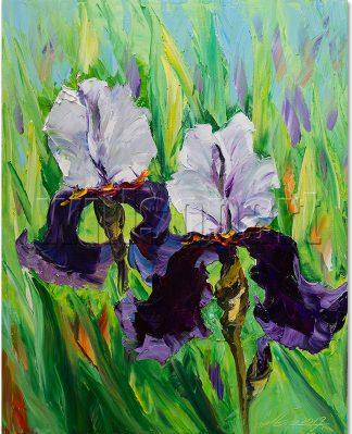 iris flower textured palette knife painting wall decor