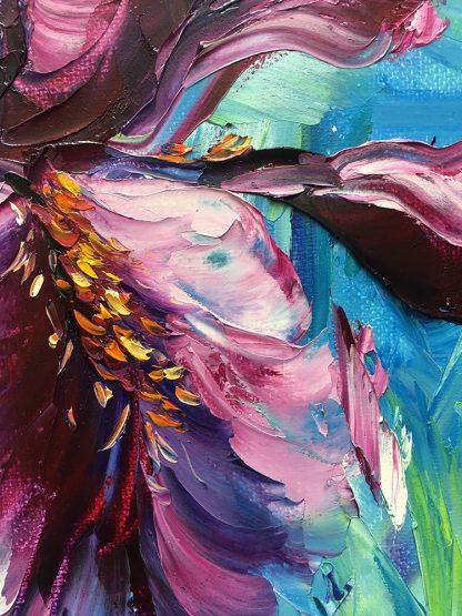 iris purple flower textured palette knife oil painting