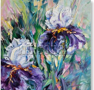 iris textured palette knife oil painting wall decor