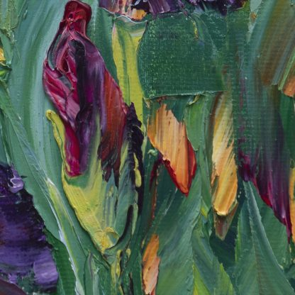 iris yellow flower textured palette knife oil painting