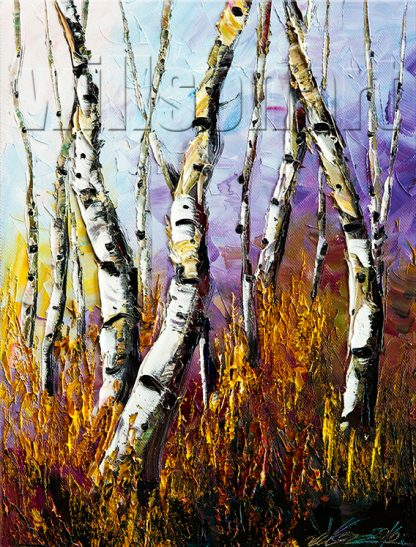 landscape birch forest textured oil painting home decor