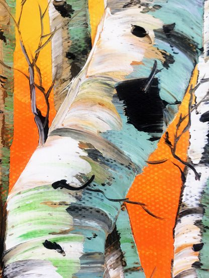 landscape birch forest textured palette knife canvas painting