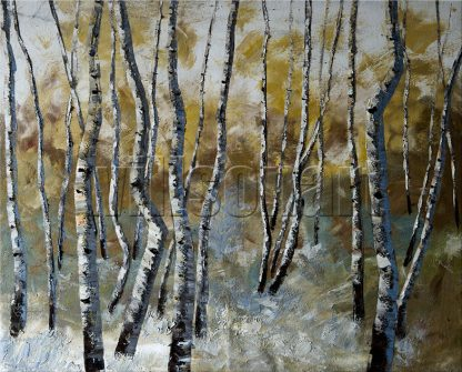 landscape birch tree oil painting wall decor