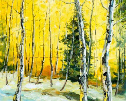 landscape birch tree textured palette knife canvas painting