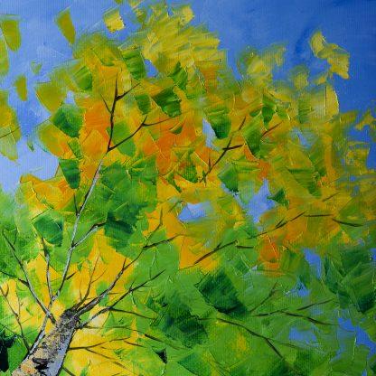 landscape tree art birch forest seasons textured oil painting wall decor