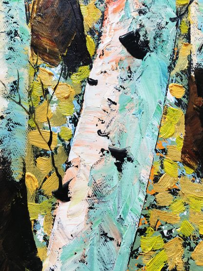 landscape tree art birch forest textured canvas oil painting wall decor