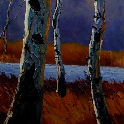 landscape tree art birch forest textured oil painting large wall decor
