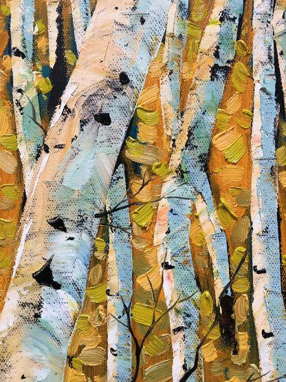 landscape tree art birch forest textured oil painting wall decor