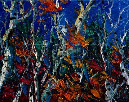 landscape tree autumn birch forest textured palette knife canvas painting interior art