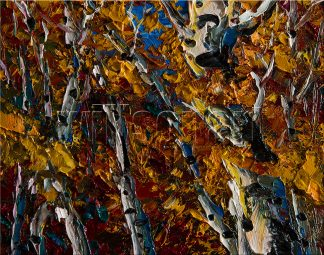landscape tree autumn birch forest textured palette knife oil painting interior art