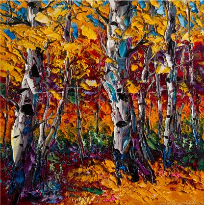 landscape tree autumn birch forest textured palette knife painting interior art