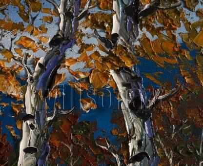 landscape tree birch forest seasons textured canvas oil painting interior art
